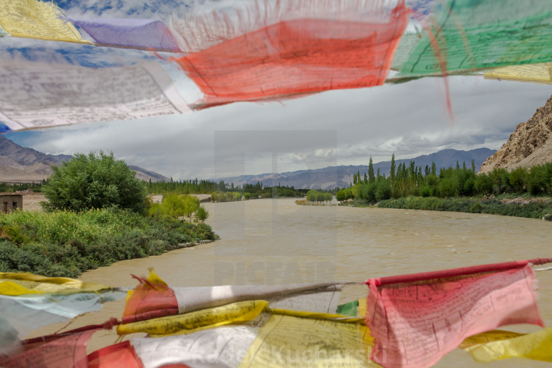 """Indus River seen from a bridge in Central Ladakh"" stock image"