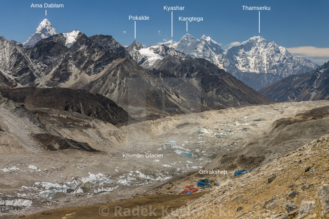 """""""Fantastic panorama from the way to Kala Patthar (peaks labelled)"""" stock image"""