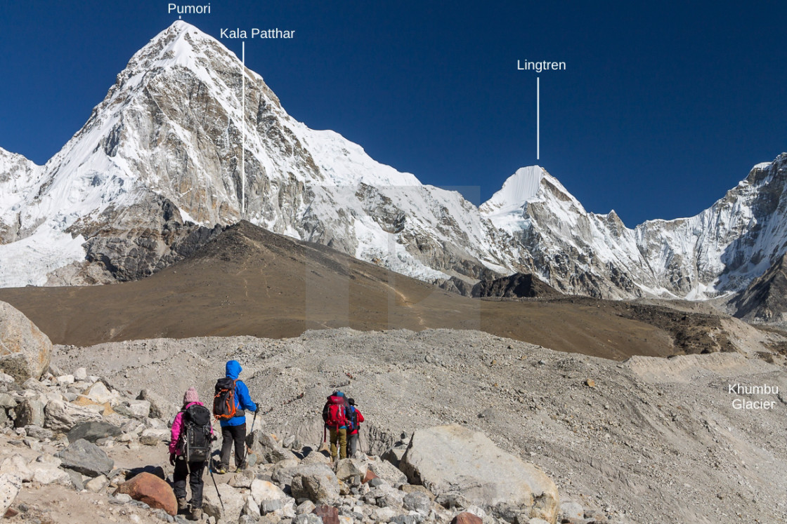 """""""Approaching the Everst Base Camp (peaks labelled)"""" stock image"""