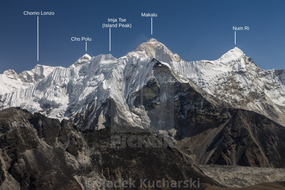 """""""Makalu, Island Peak and others seen from Chukhung Ri (peaks labelled)"""" stock image"""