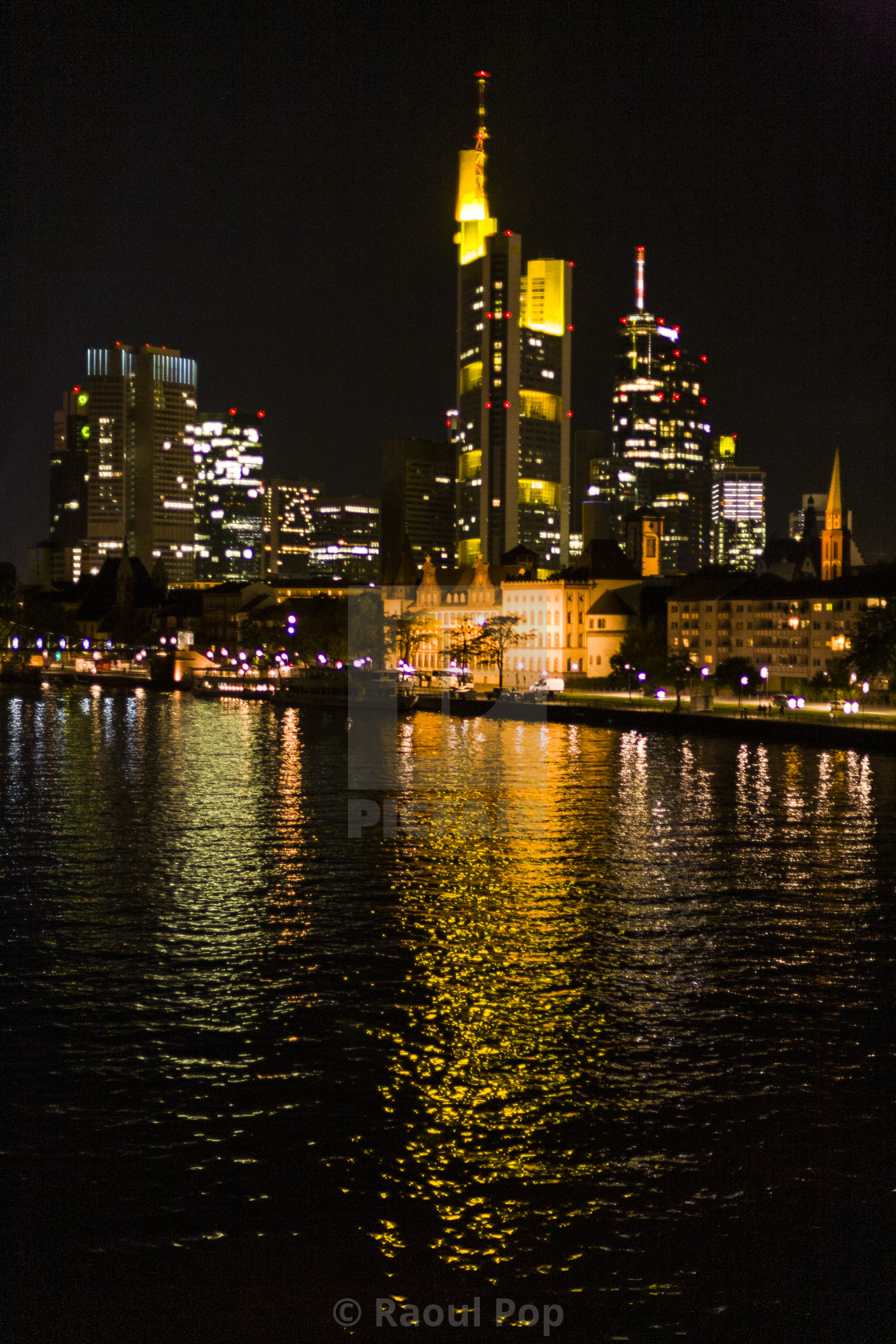 """Frankfurt downtown at night"" stock image"