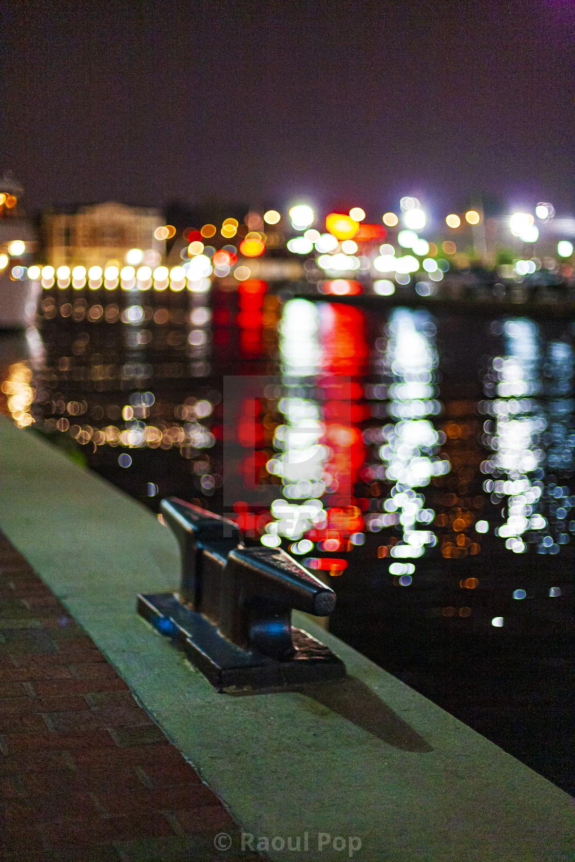 """Inner harbor at night, Baltimore, MD, USA."" stock image"