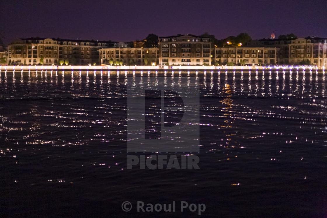 """Night on the harbor"" stock image"