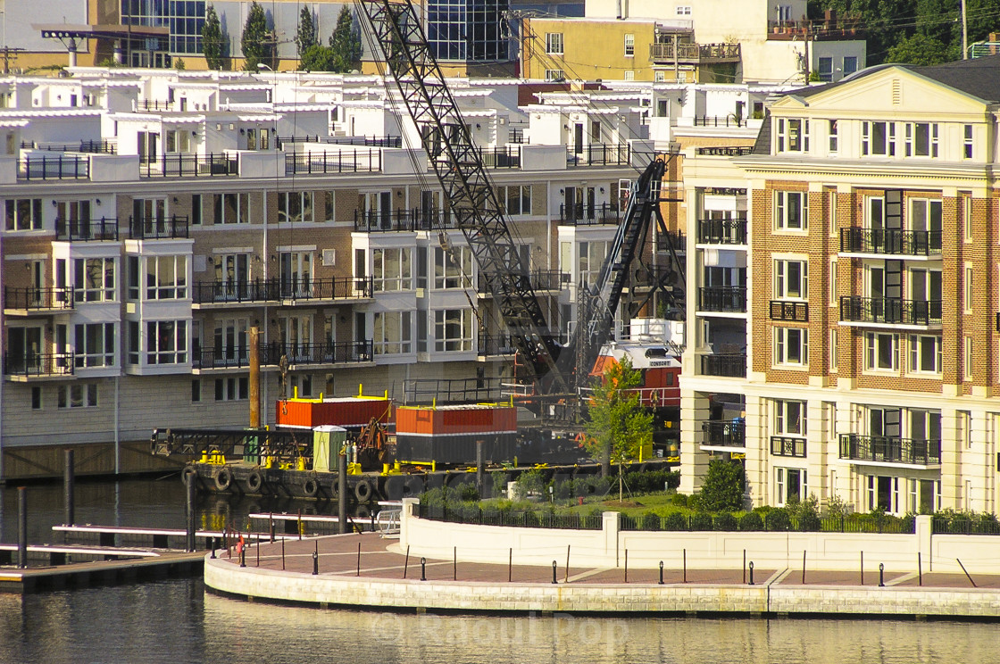 """""""Apartment buildings on the harbor"""" stock image"""