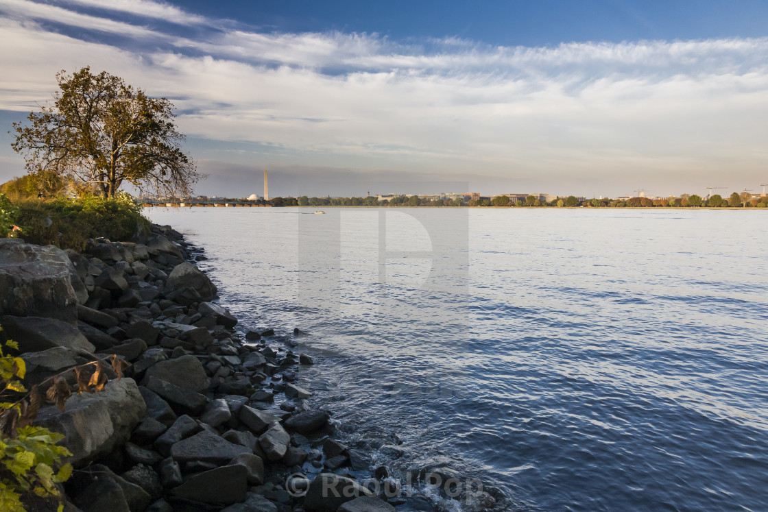 """""""Looking at DC from across the Potomac"""" stock image"""