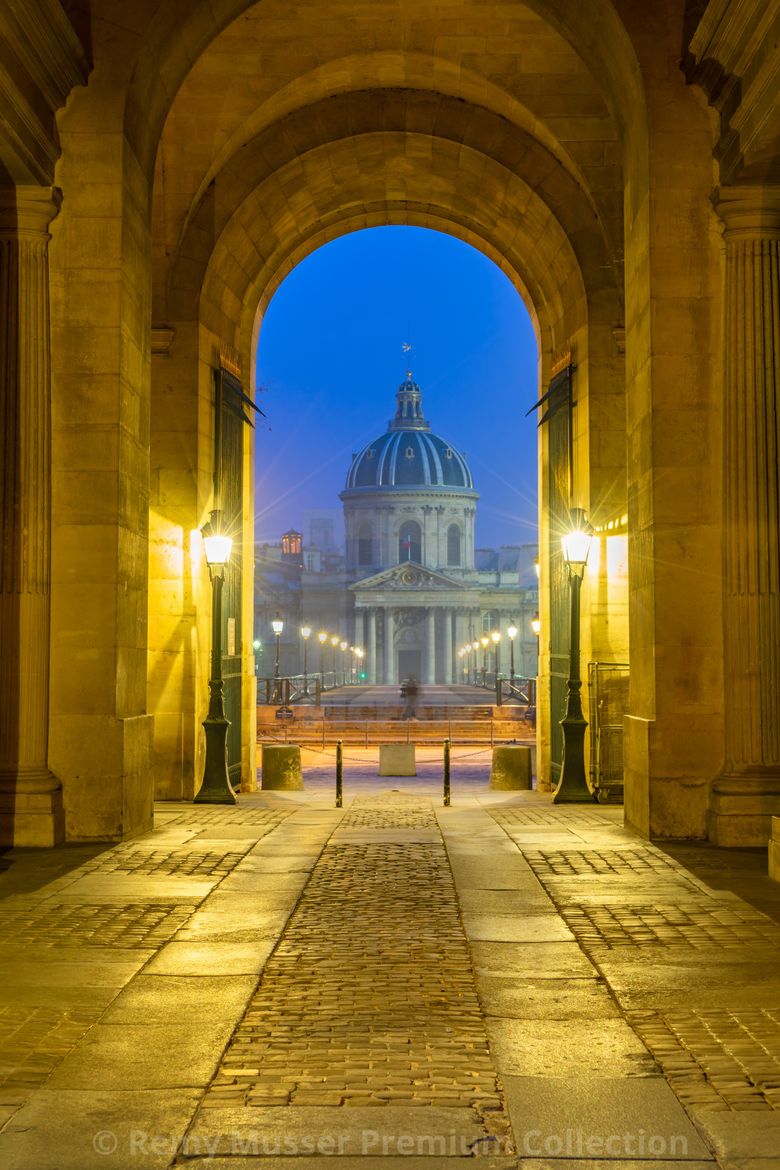"""""""River Seine with Pont des Arts and Institut de France at night i"""" stock image"""