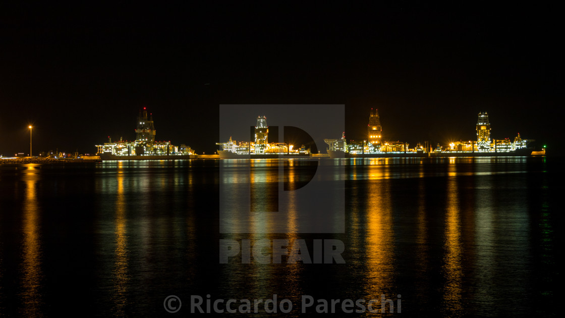 """A night in the harbour"" stock image"