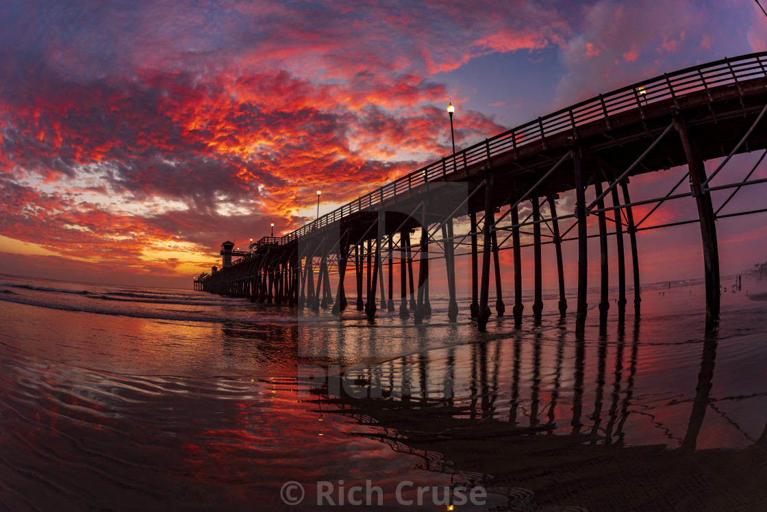 """Fiery Sunset at Oceanside Pier"" stock image"