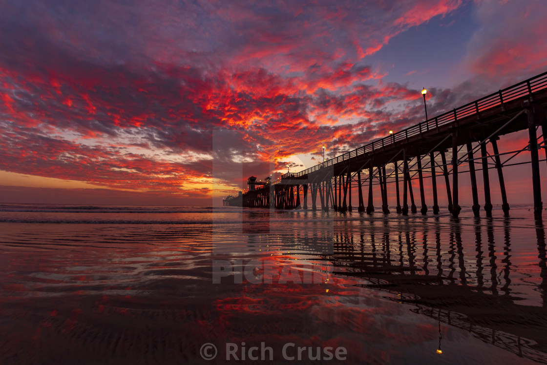 """Reflections at Sunset at Oceanside Pier"" stock image"
