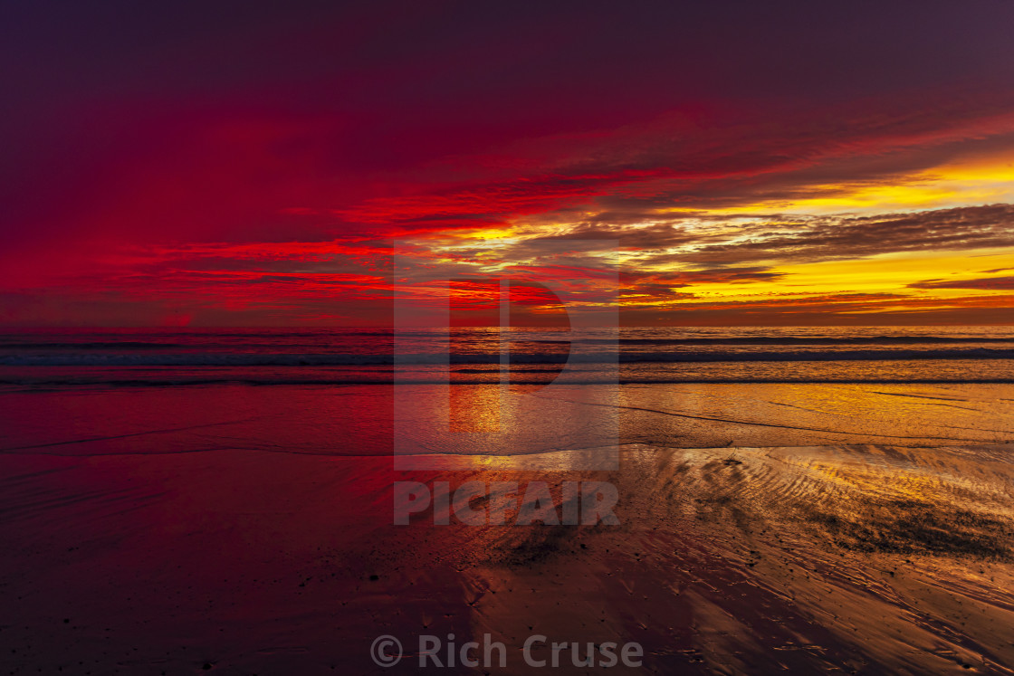 """Colorful Sunset in Encinitas, CA"" stock image"