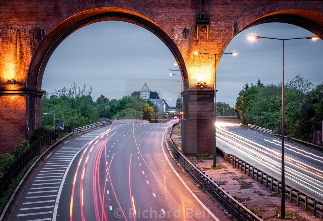 """Stockport Viaduct and Pyramid"" stock image"