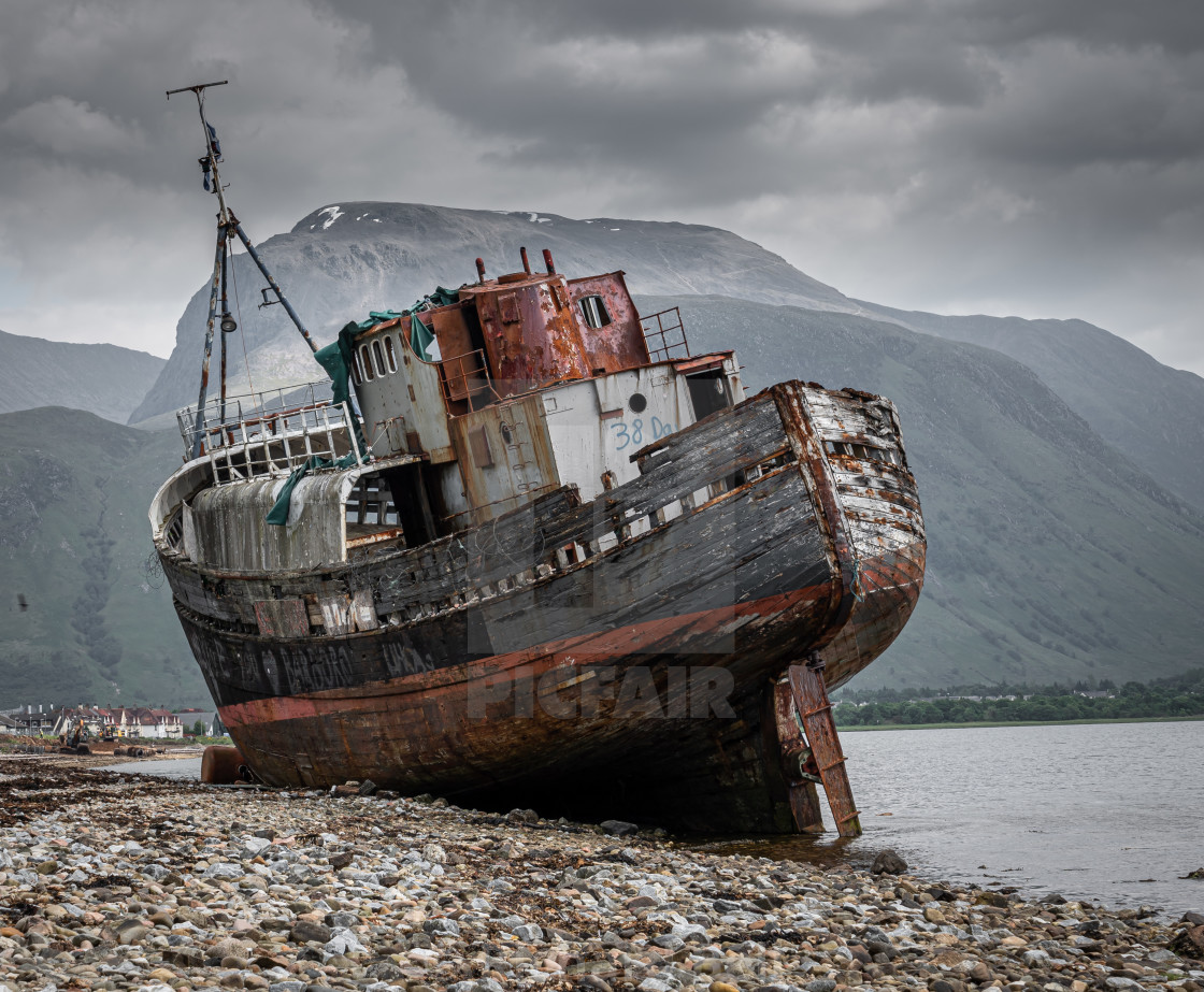 """""""Shipwreck in the shadow of Ben Nevis"""" stock image"""
