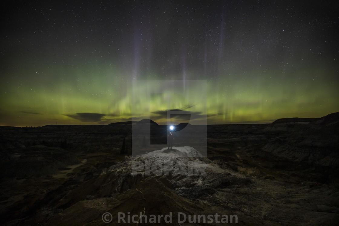 """Northern lights in Drumheller"" stock image"