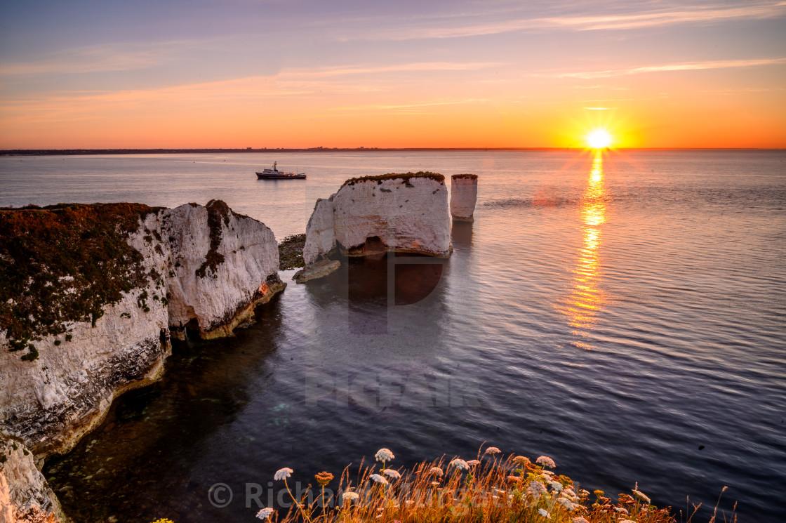 """Sunrise at Old Harry Rocks"" stock image"