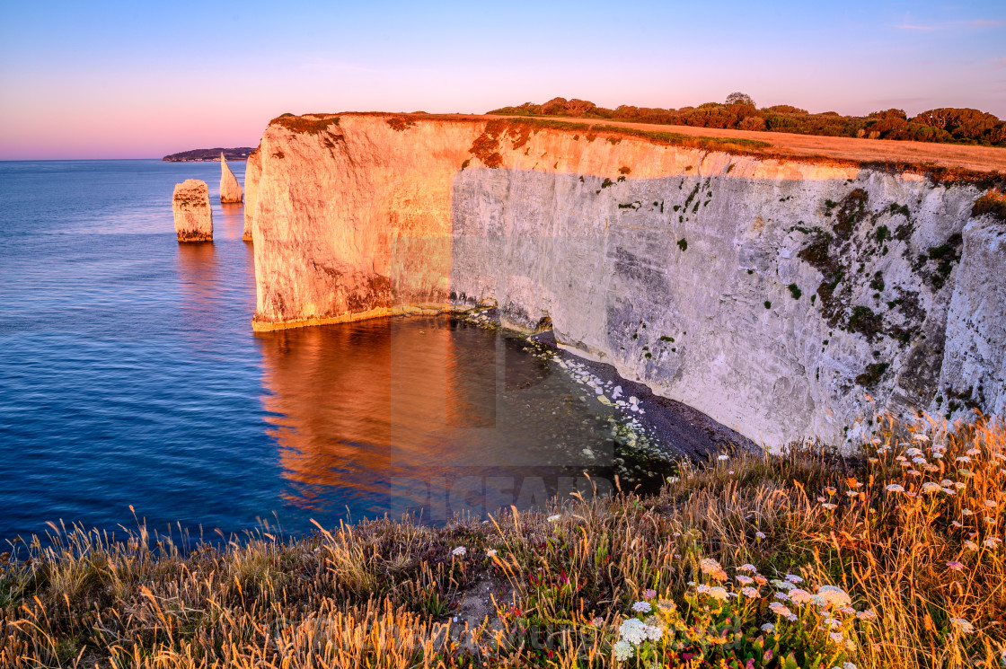 """Sunrise near Old Harry Rocks"" stock image"