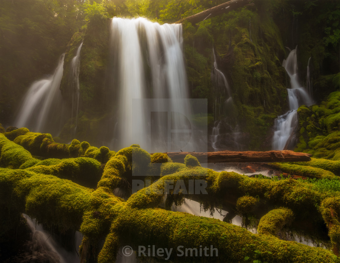 """Colorful and mossy waterfall"" stock image"