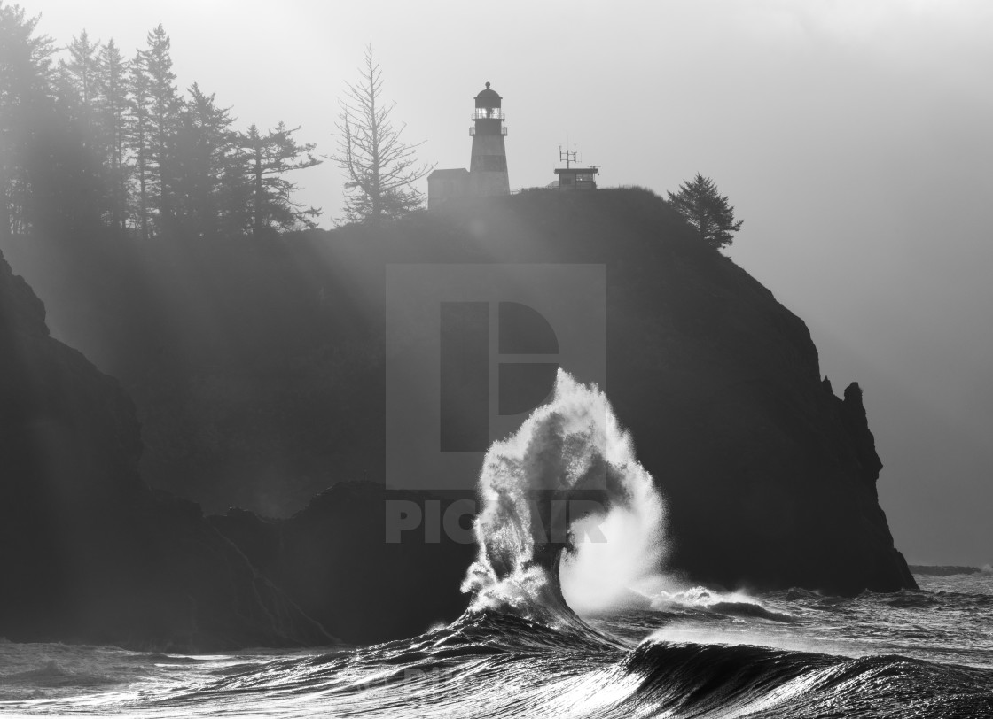 """Cape Disappointment waves in Washington"" stock image"