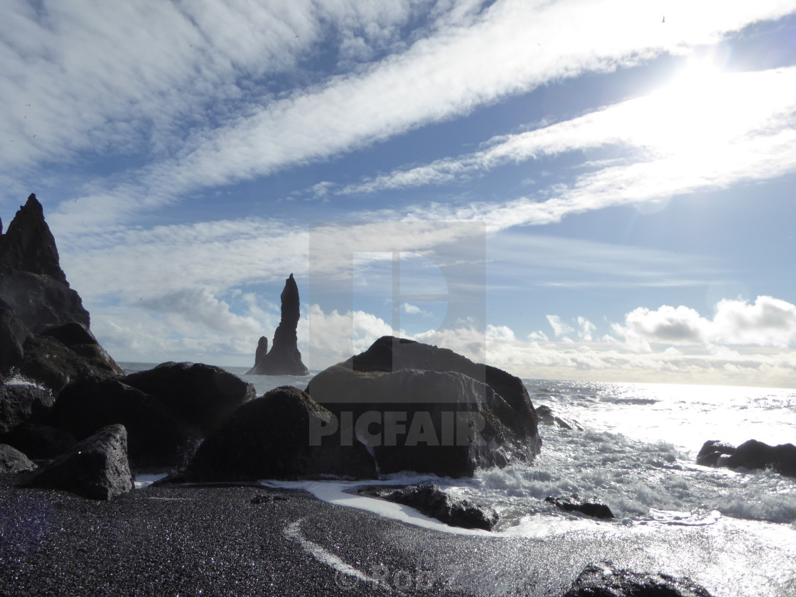 """Black Sand Beach in Iceland"" stock image"