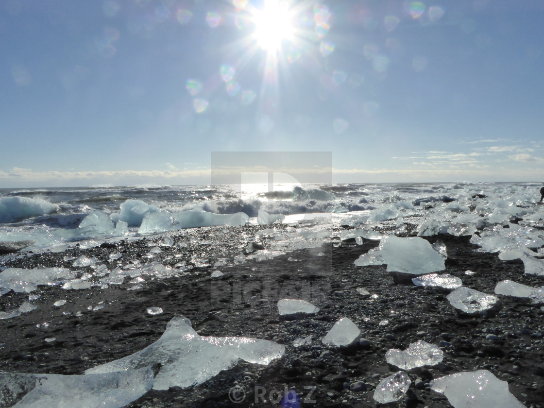 """""""Ice Chunks on a beach in Iceland"""" stock image"""