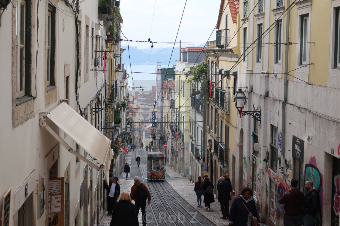 """Narrow street in Lisbon"" stock image"