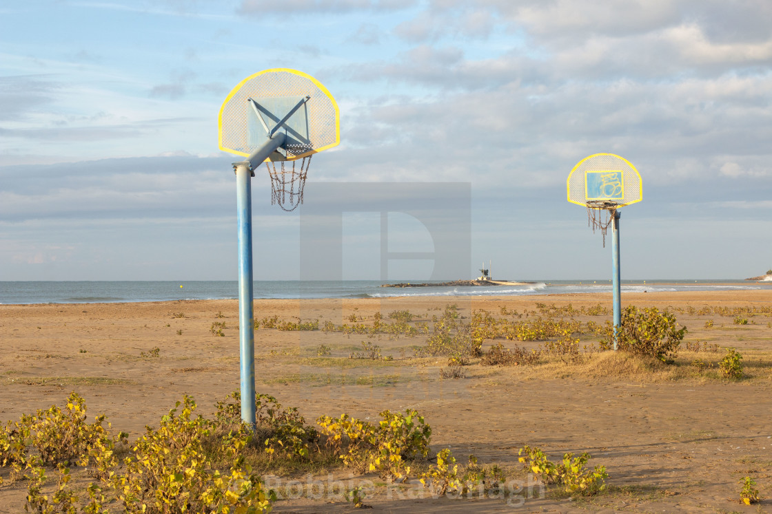 """""""Basketball court on the beach"""" stock image"""