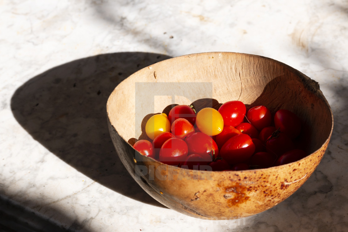 """""""Cherry tomatoes in a bowl"""" stock image"""