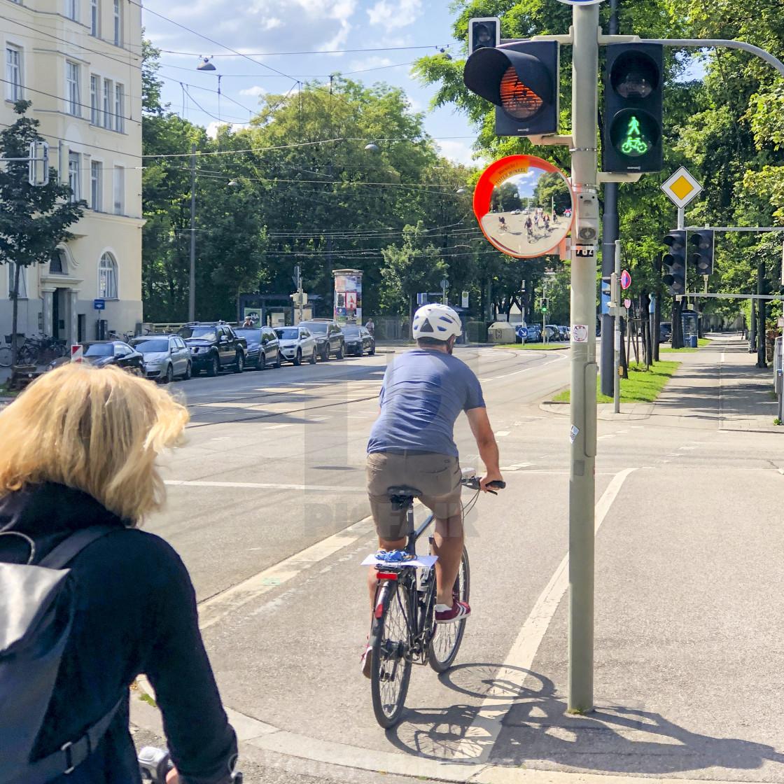 """Protection Mirror on a Bike Lane"" stock image"