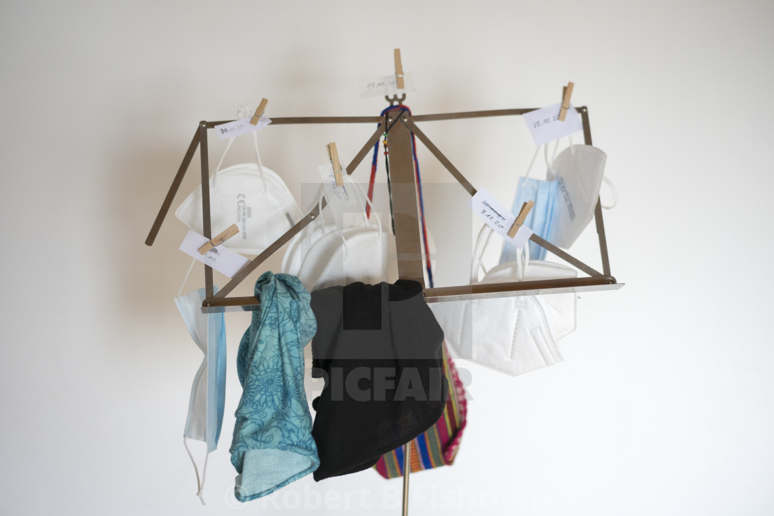 """""""Covid 19 masks drying on a music stand"""" stock image"""