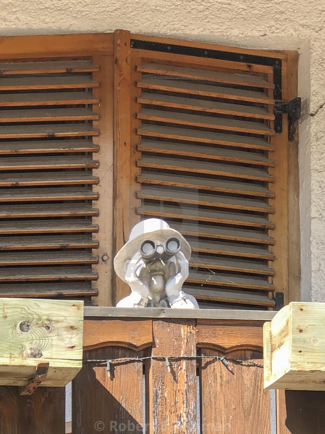 """sculpture Man with Binoculars"" stock image"