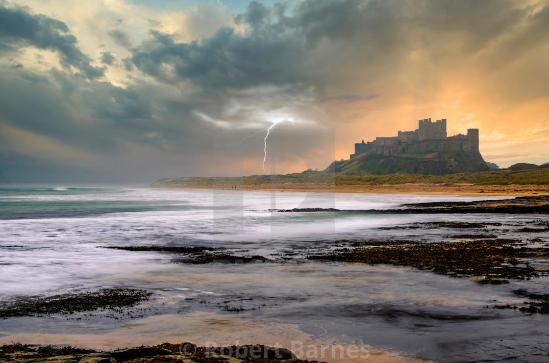 """Morning Storm at Bamburgh Castle"" stock image"