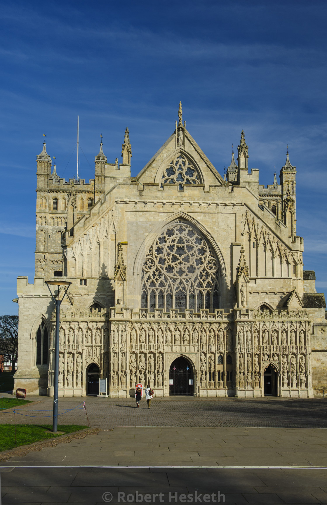 """""""Exeter Cathedral's magnificent West Front"""" stock image"""