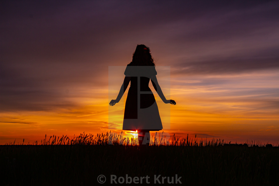 """Girl silhouette"" stock image"