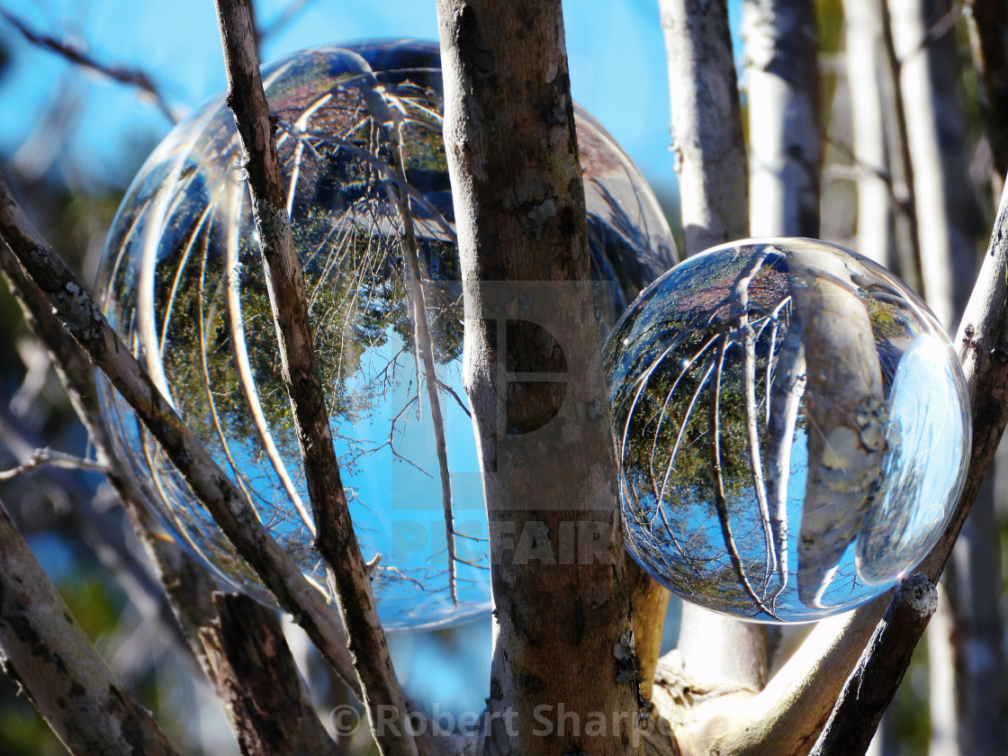 """""""Double Globe on a Sunny Day"""" stock image"""