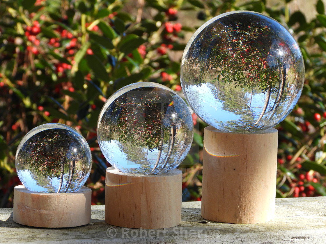 """""""Triple Crystal Ball on Porch"""" stock image"""