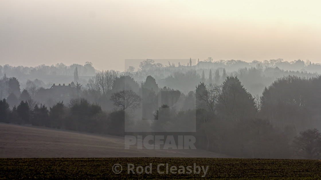 """""""Misty morning in the Cotswolds: Cool Grey"""" stock image"""