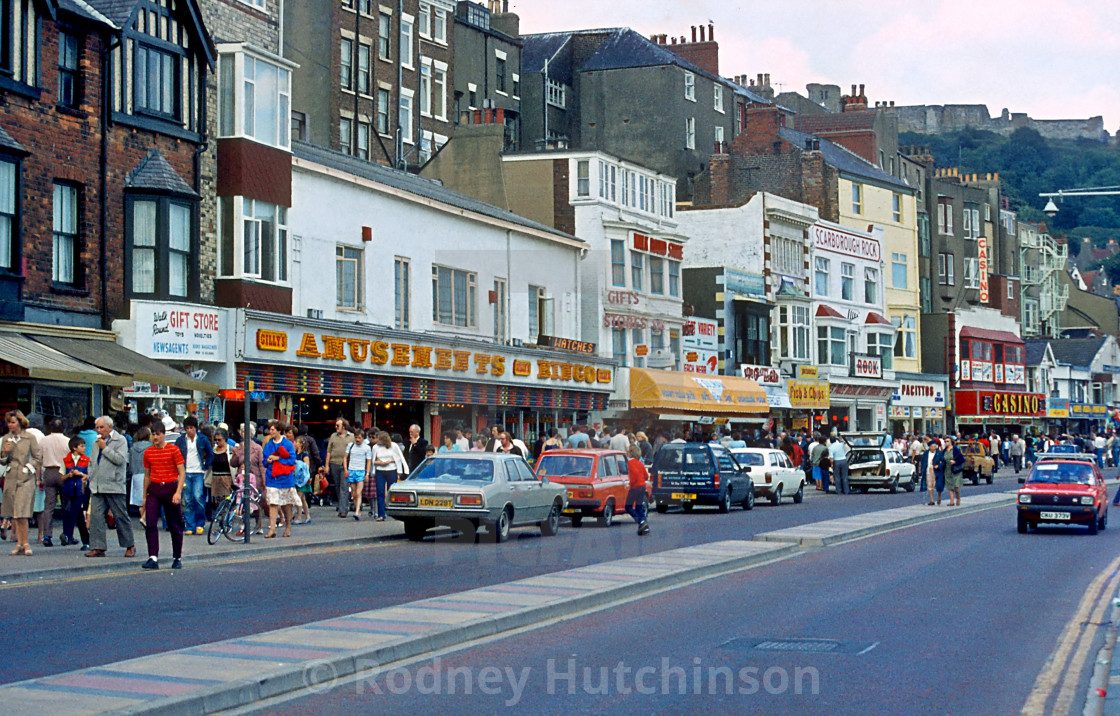 """Scarbrough Sea Front 1980's"" stock image"
