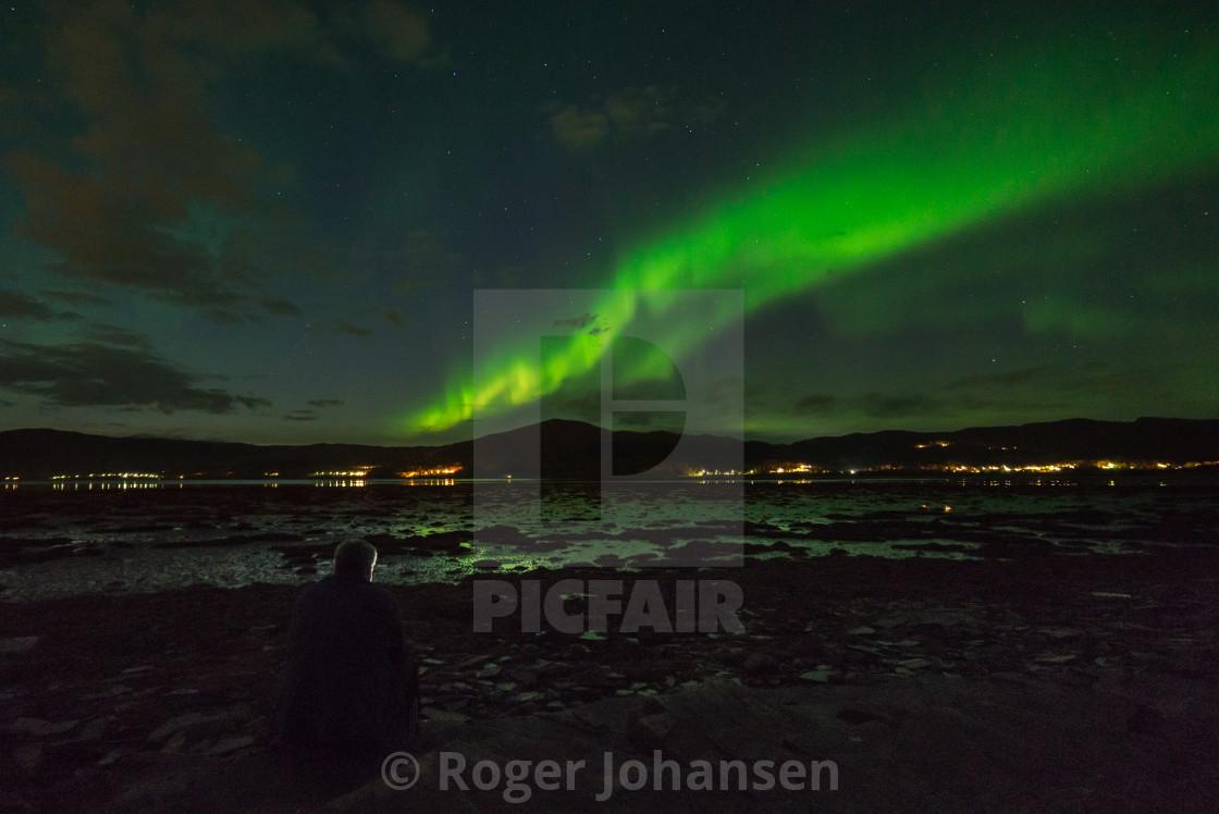 """Northern Lights above Alta fjord"" stock image"