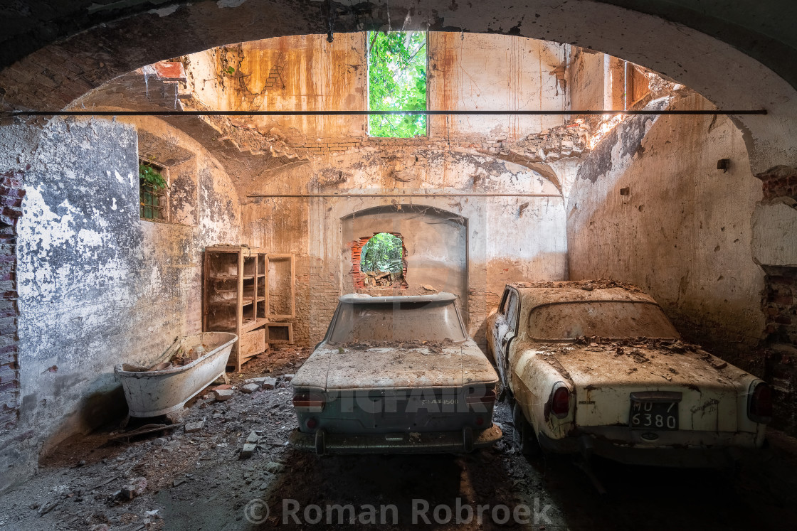 """""""Cars in Abandoned Garage"""" stock image"""