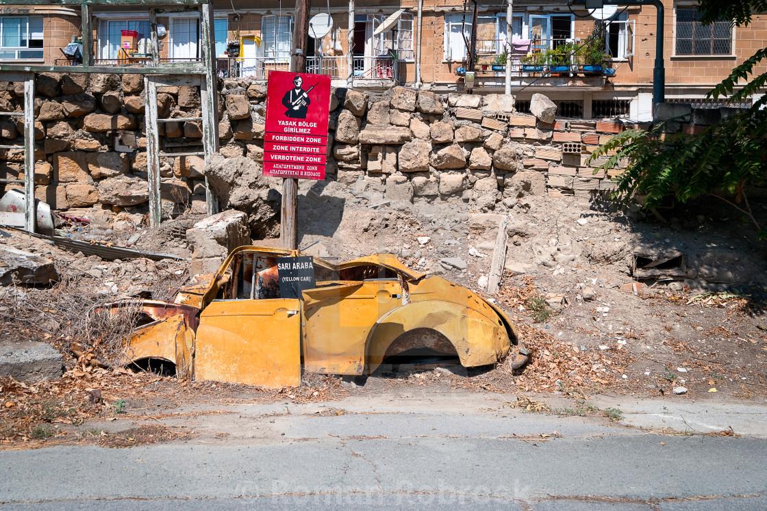 """Nicosia Green Line Buffer Zone Yellow Car"" stock image"