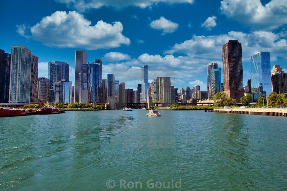 """The Chicago skyline from the Chicago River"" stock image"