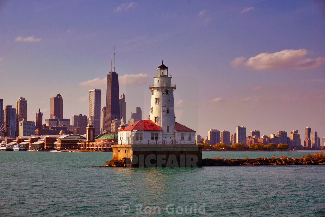 """Light house on Lake Michigan, Chicago"" stock image"