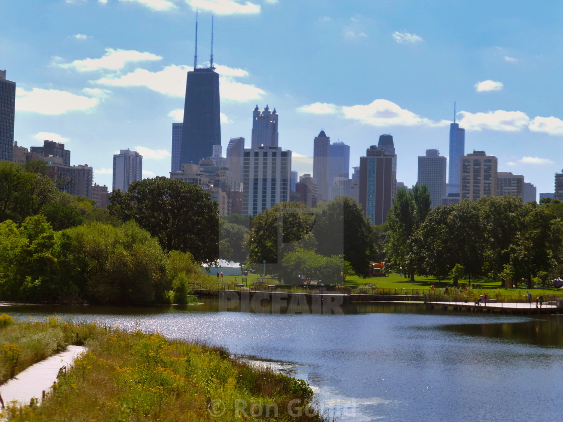 """Chicago Skyline from Lincoln Park Lagoon"" stock image"