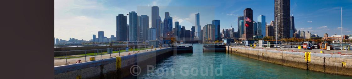 """Chicago Skyline with Locks opening"" stock image"