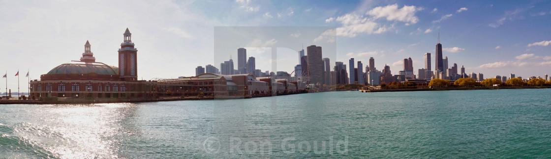 """Panorama of Navy Pier, Chicago"" stock image"
