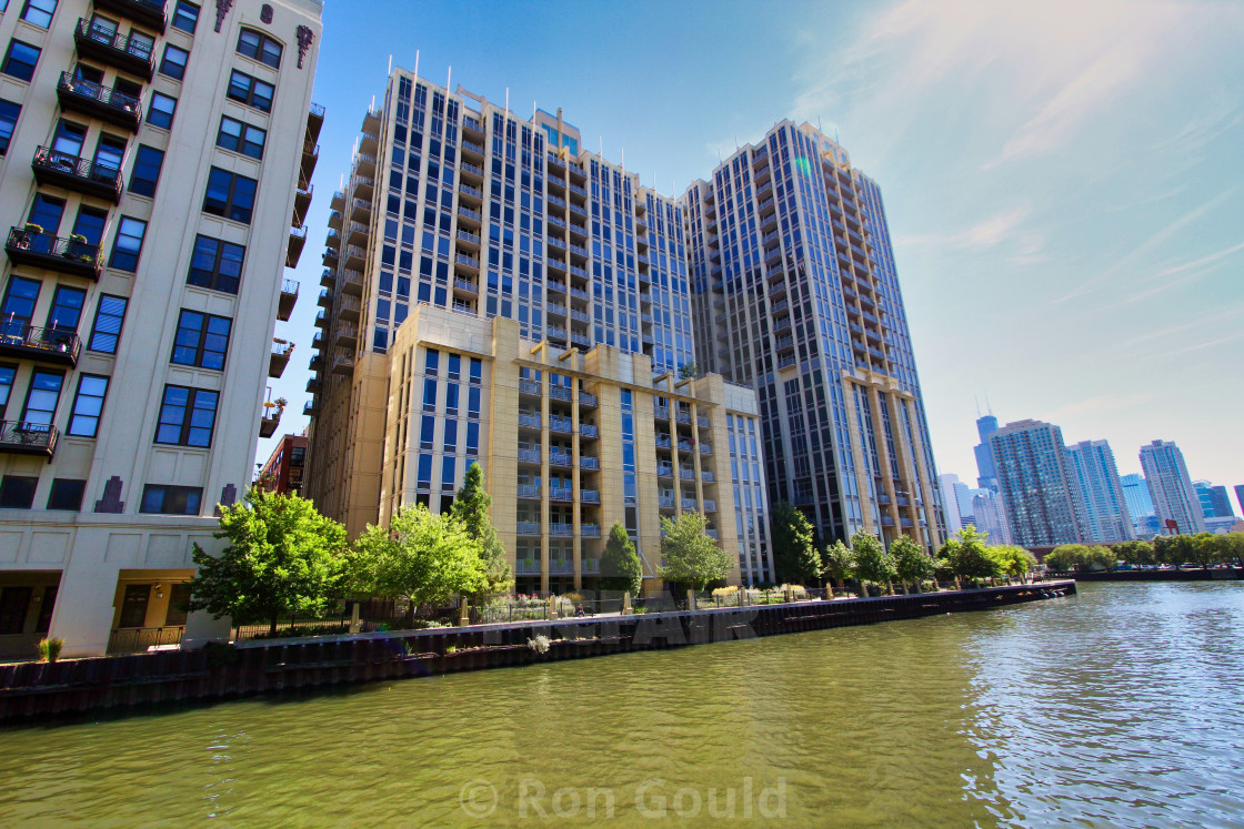 """Apartments on Chicago River"" stock image"
