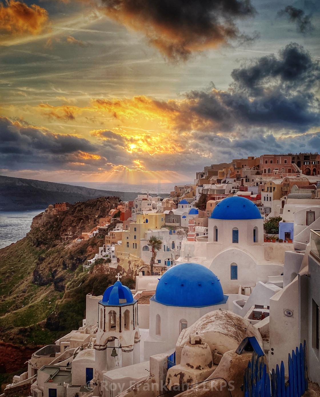 """Sunset over Oia, Santorini"" stock image"