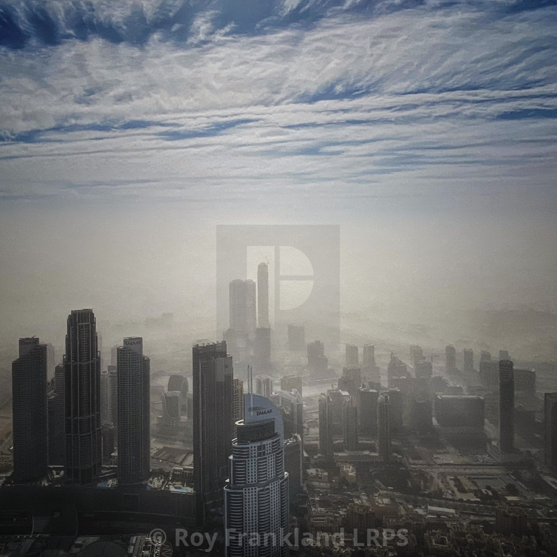 """Downtown Dubai in a sandstorm"" stock image"