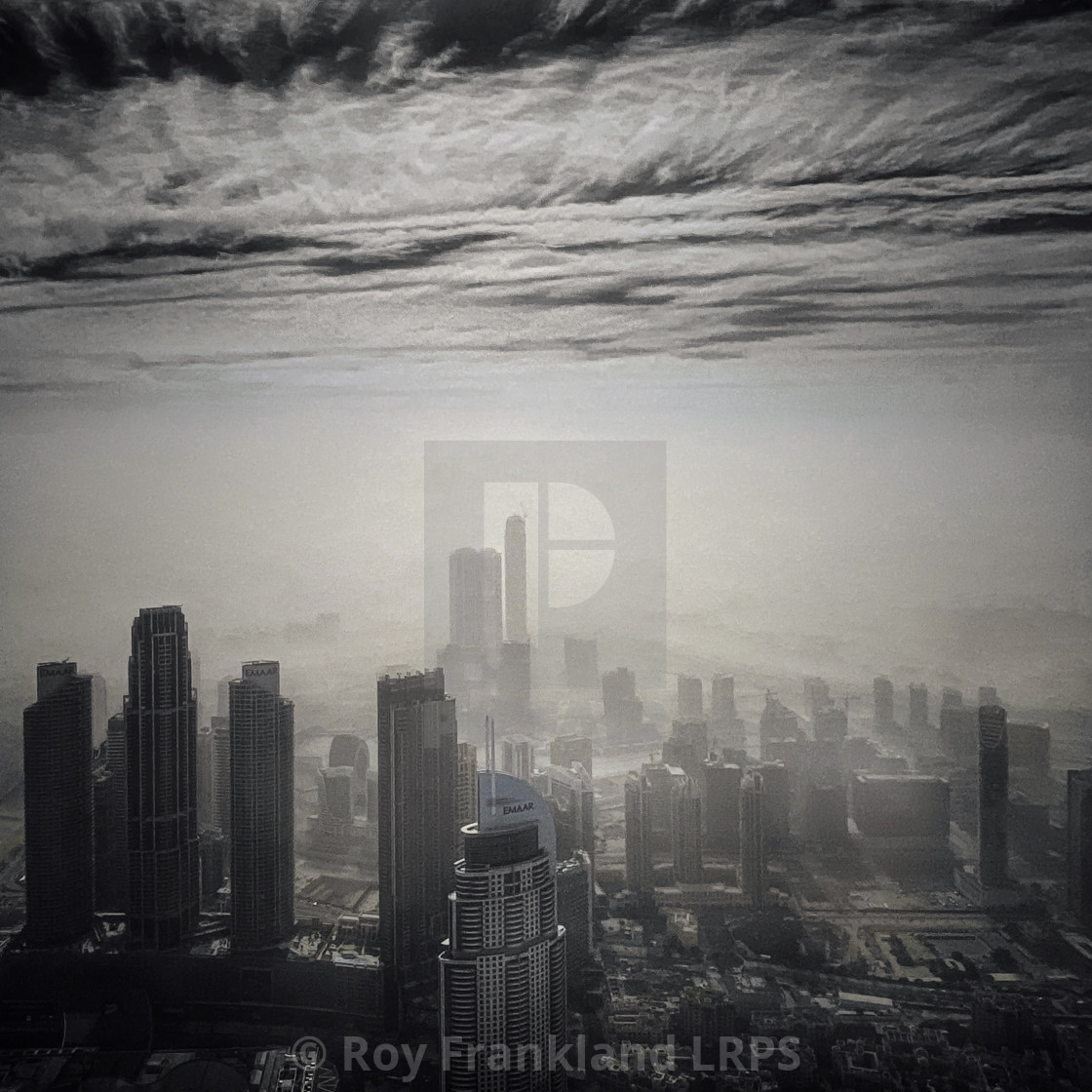 """Downtown Dubai in a sandstorm - mono"" stock image"
