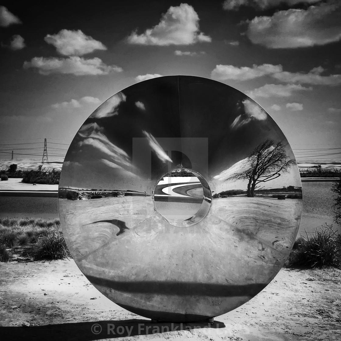 """Reflections of disc world - mono"" stock image"