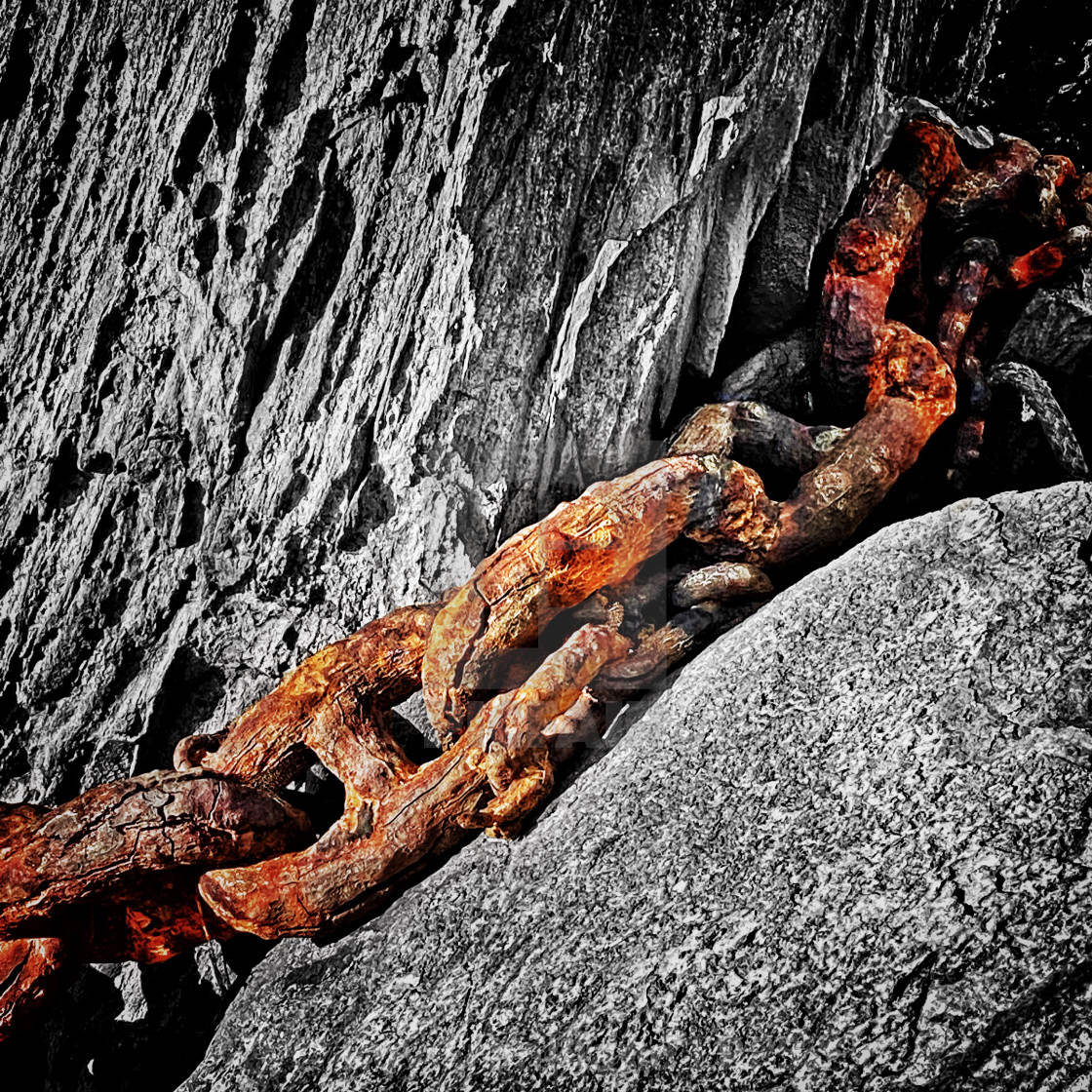 """Big rusty anchor chain"" stock image"